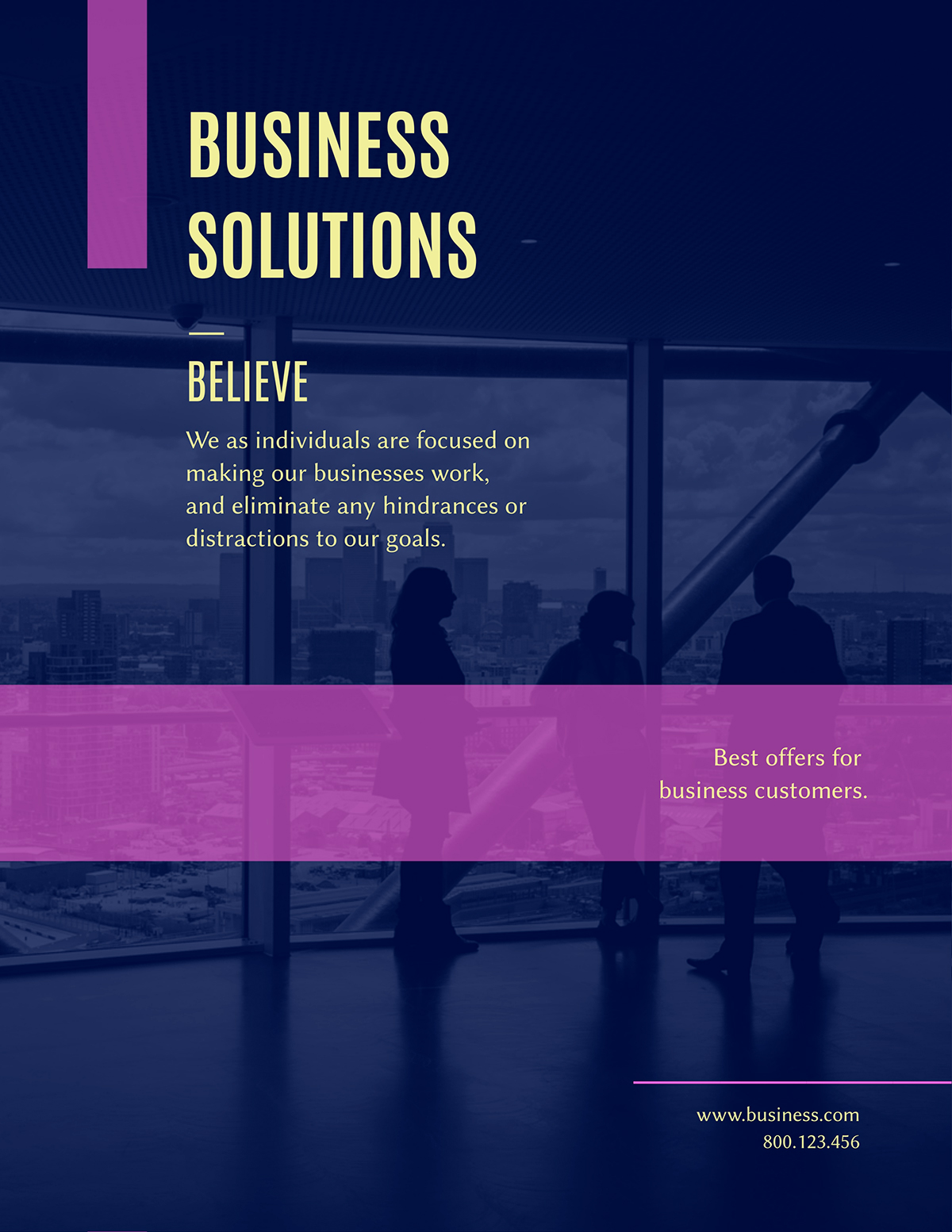 A blue and purple business flyer template available in Visme.