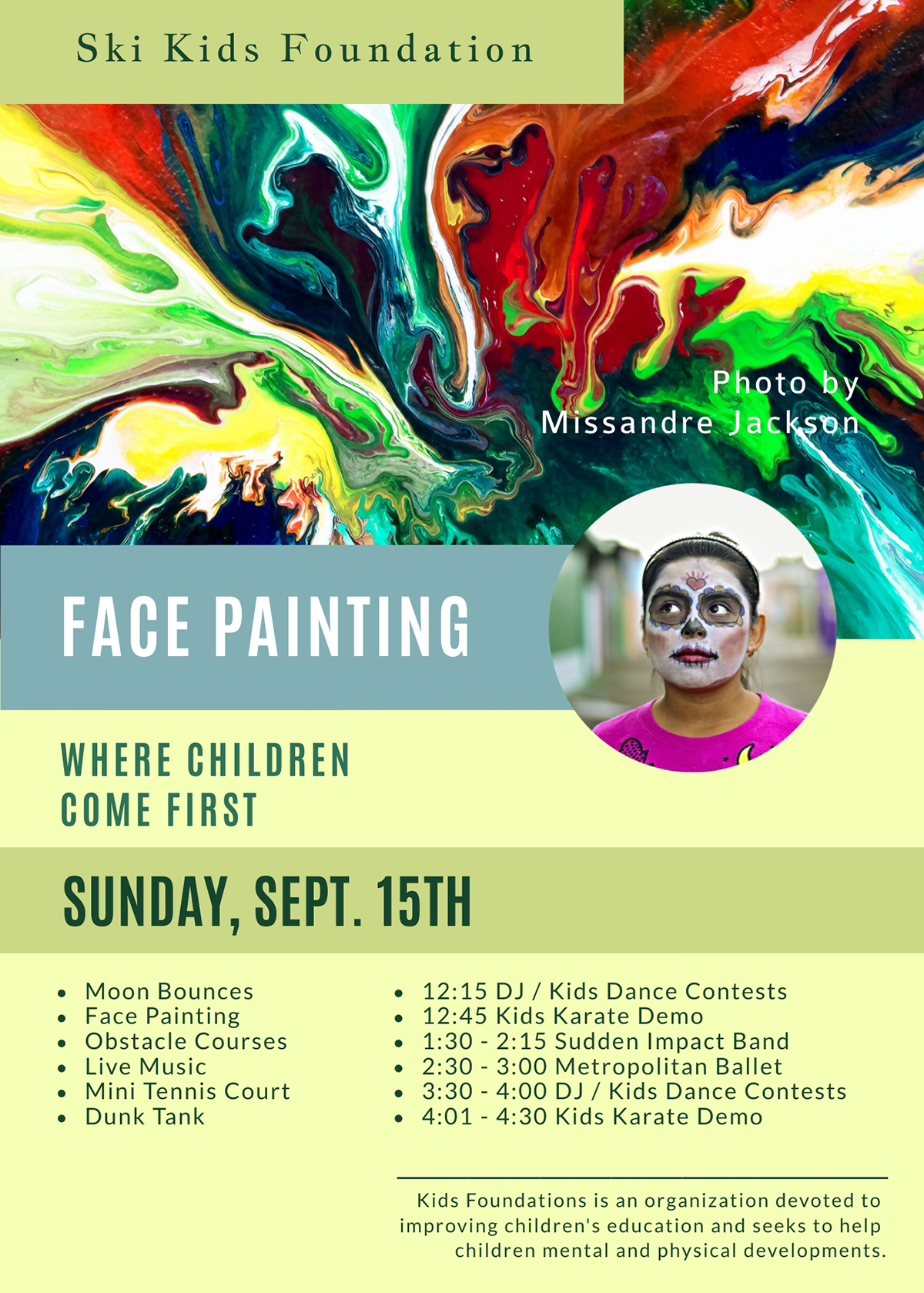 A colorful face painting flyer template available in Visme.