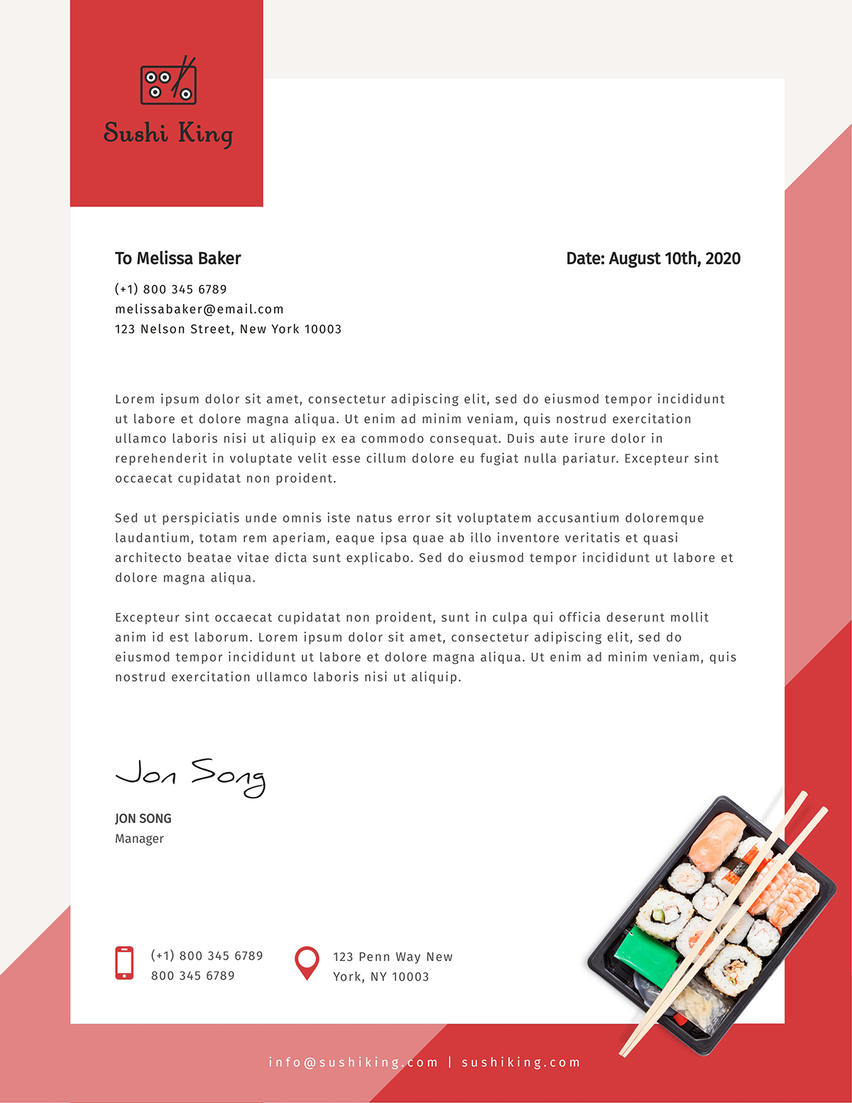 Pink and red business letter template available on Visme.