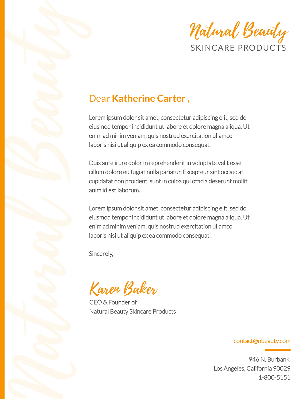 Orange and white business letter template available in Visme.