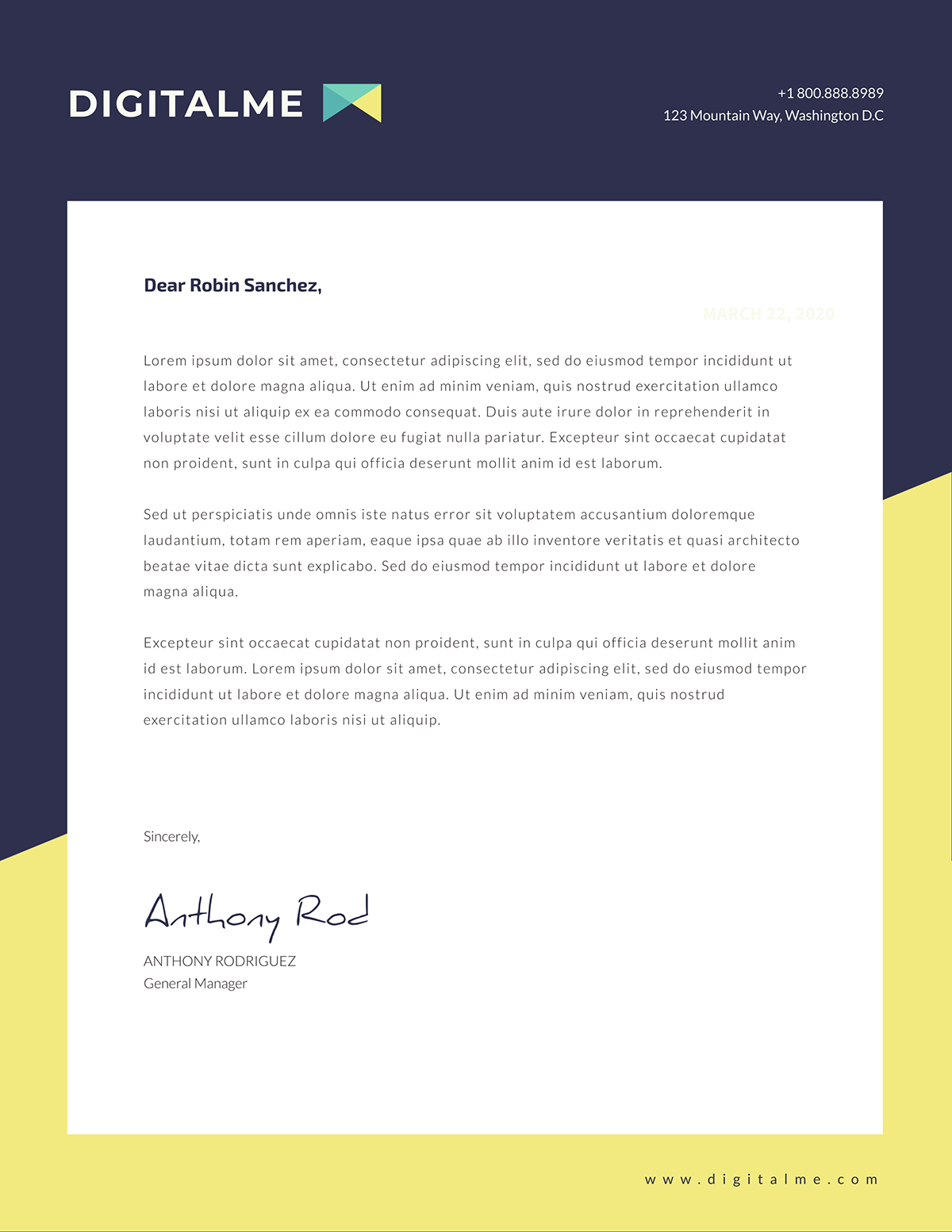 Blue and yellow business letter template available on Visme.