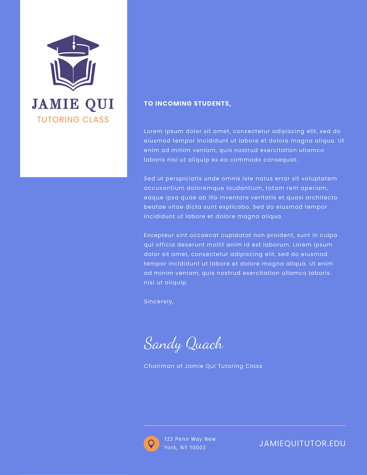 Blue and white business letter template available in Visme.