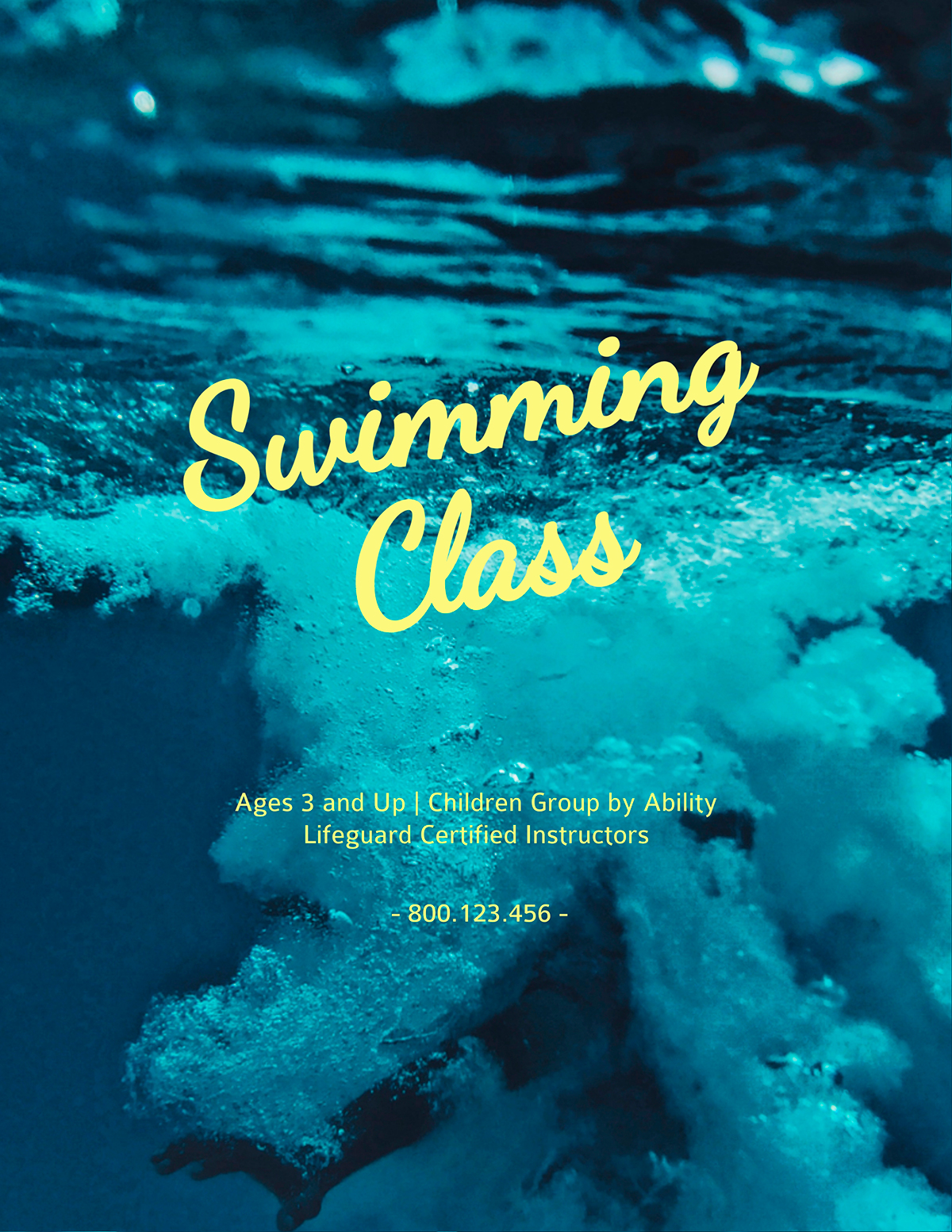 A blue and yellow swim class flyer template available in Visme.