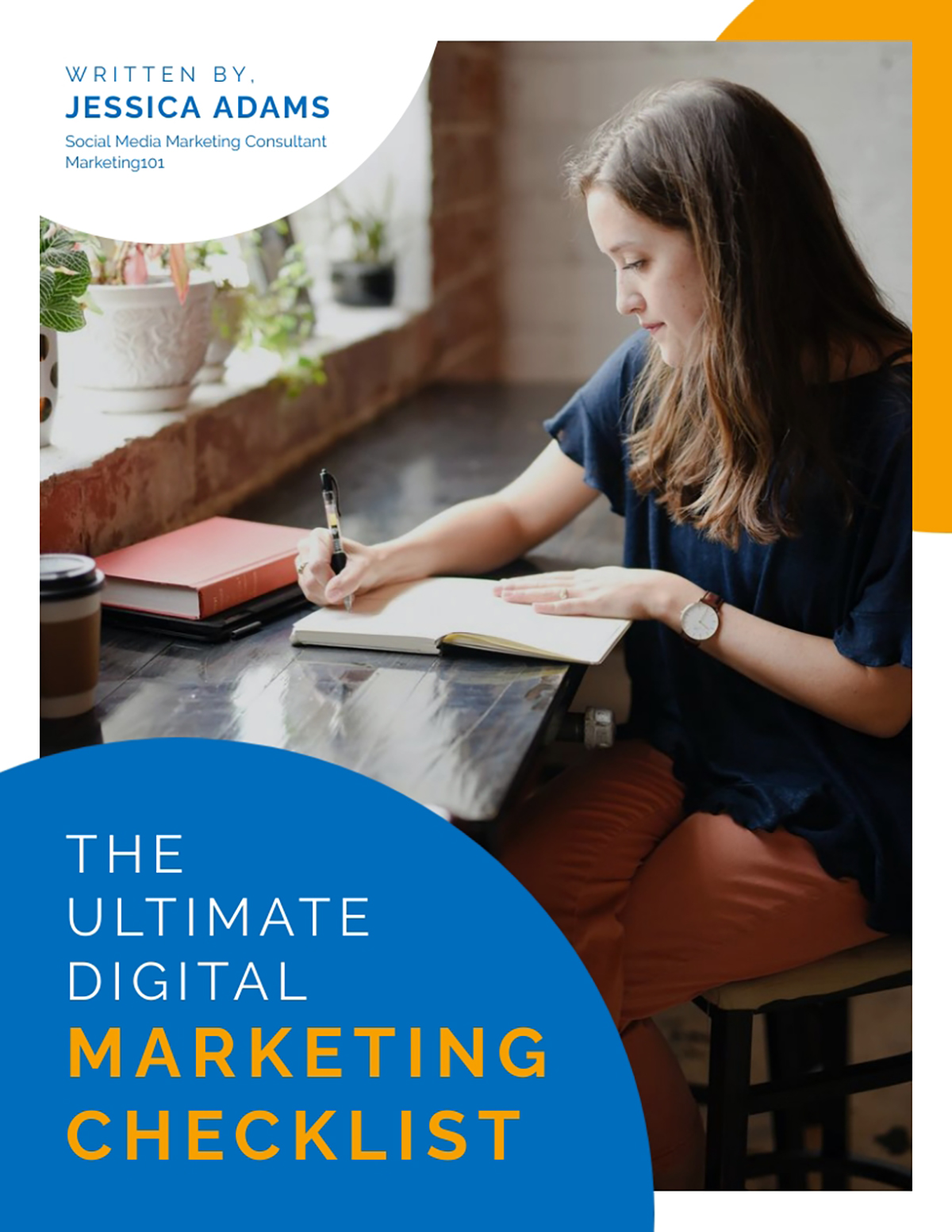 Orange and blue digital marketing checklist template available in Visme.