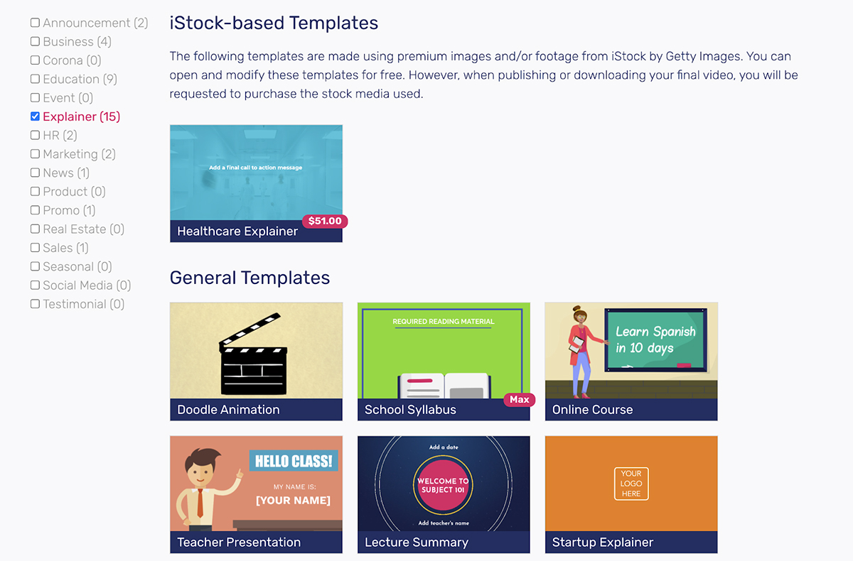 A screenshot of Moovly's explainer video templates.