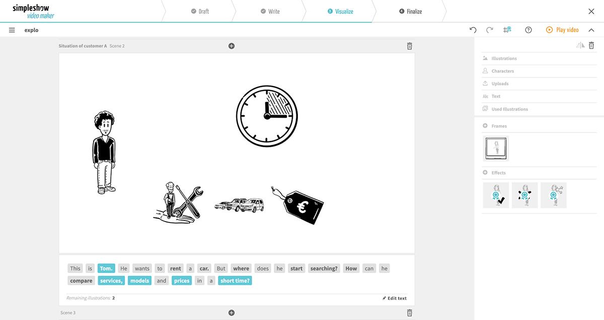 A screenshot of the MySimpleShow editor.