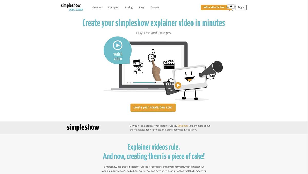 A screenshot of the MySimpleShow website.