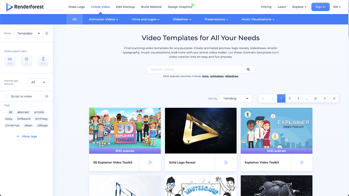 A screenshot of Renderforest's explainer video templates.