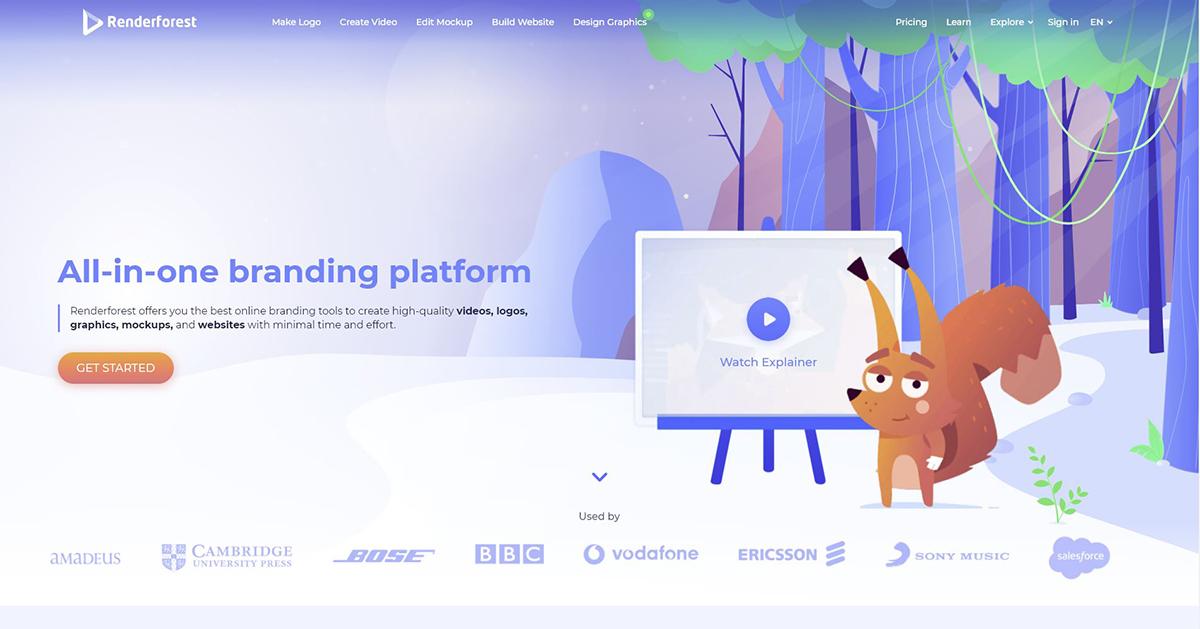A screenshot of the Renderforest website.