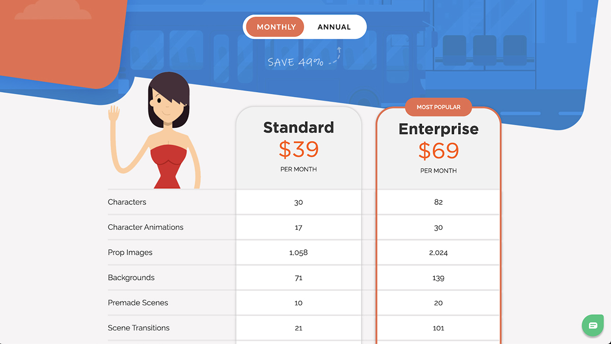 A screenshot of Toonly's pricing page.
