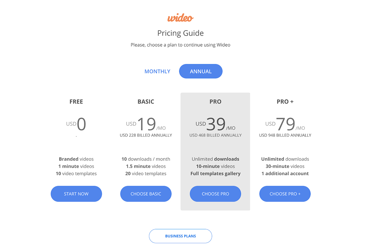 A screenshot of Wideo's pricing page.