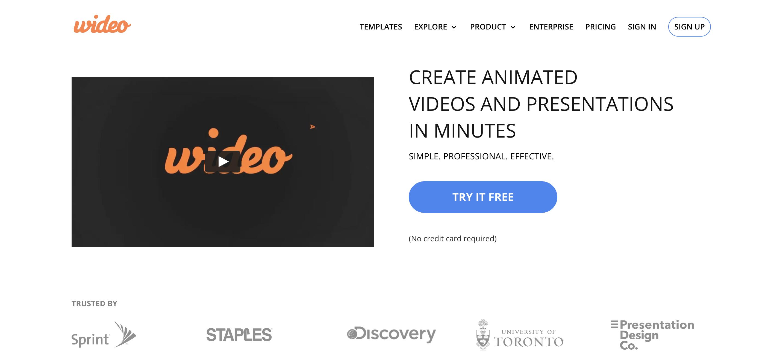 A screenshot of Wideo's website.