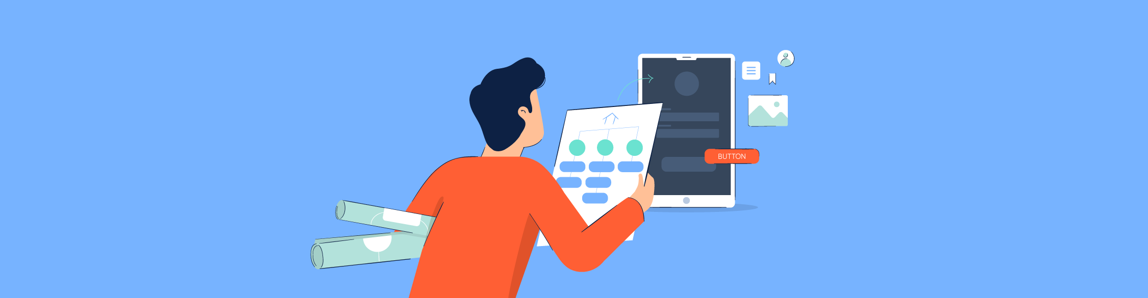 An illustration of a person looking at a wireframe to design an app.