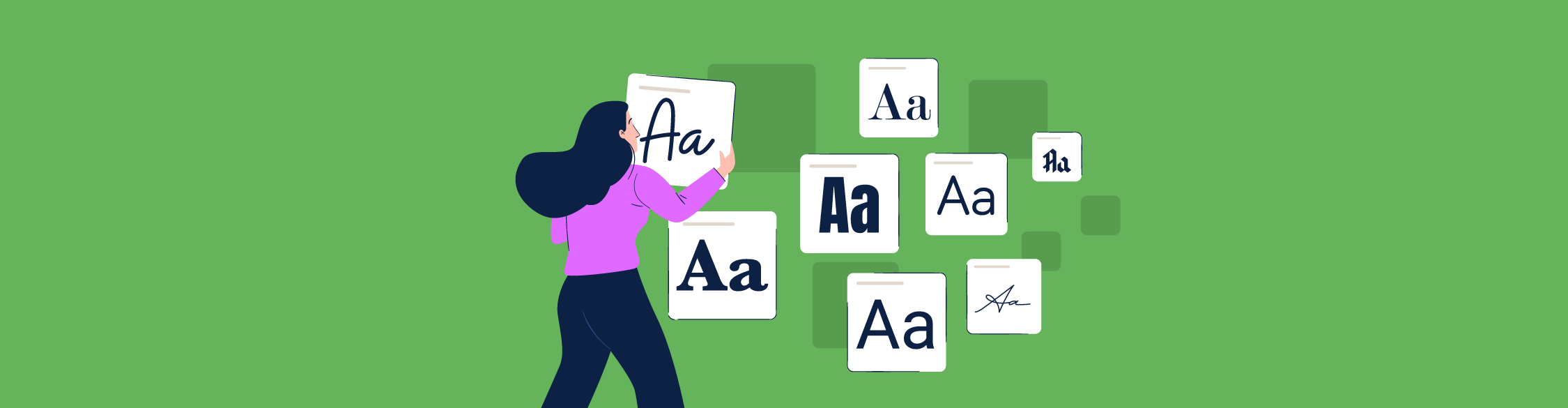 An illustration of a woman browsing different fonts.