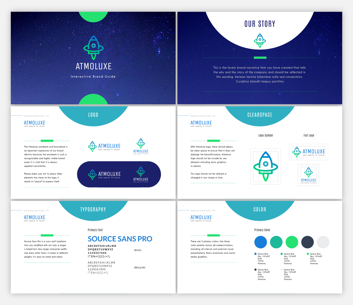 A brand guidelines presentation template available in Visme.