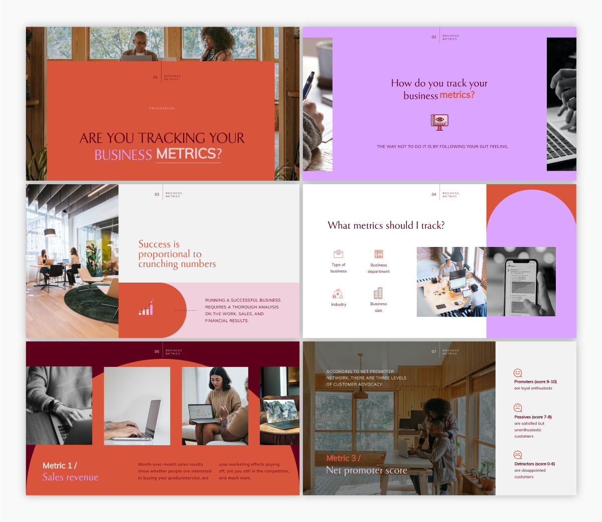 A business metrics keynote template available to customize in Visme.