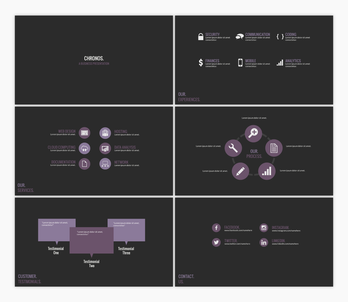 A black and purple keynote template available to customize in Visme.