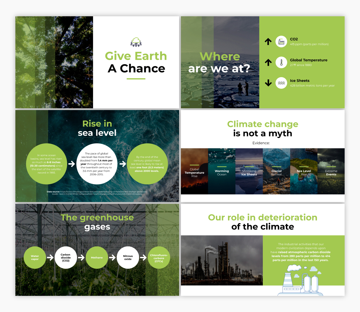 A climate change keynote presentation template available to customize in Visme.