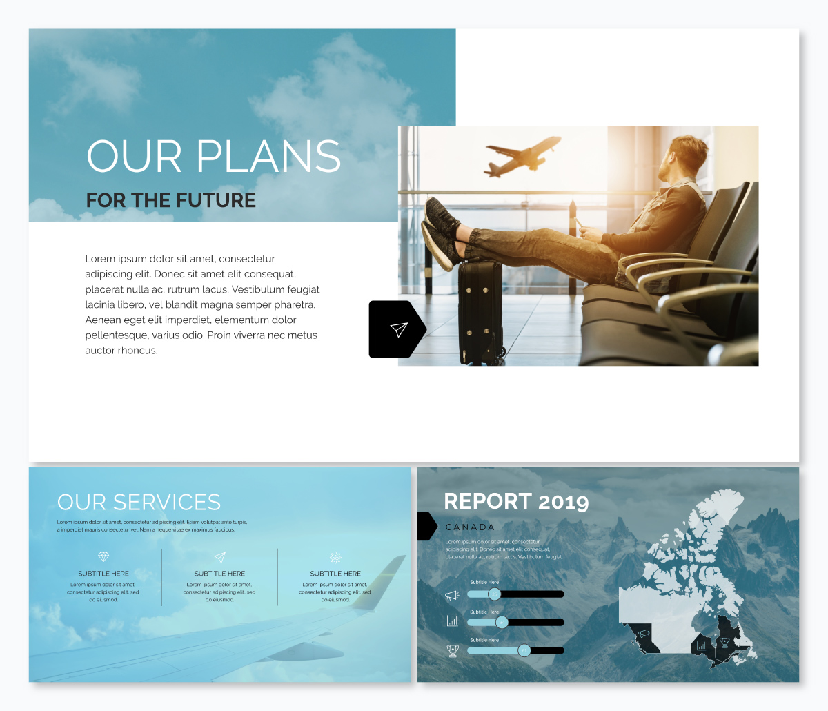 A company profile keynote template available in Visme.