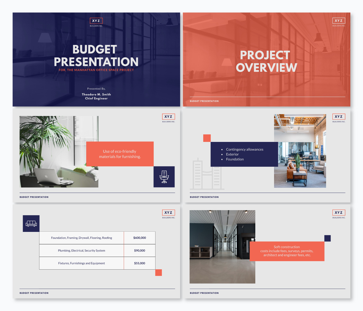 A construction budget presentation template available in Visme.