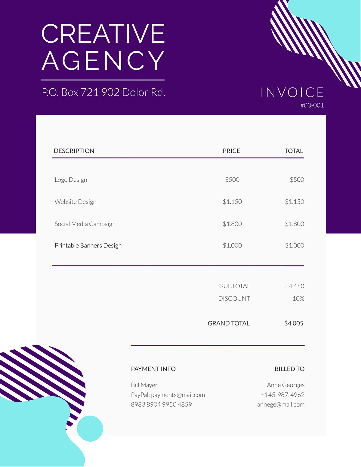 A creative agency invoice template available in Visme.