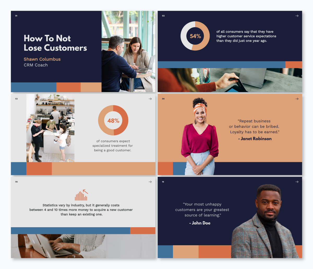 A customer service keynote template available in Visme.