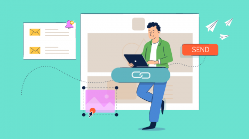 Illustration of a person designing an email.