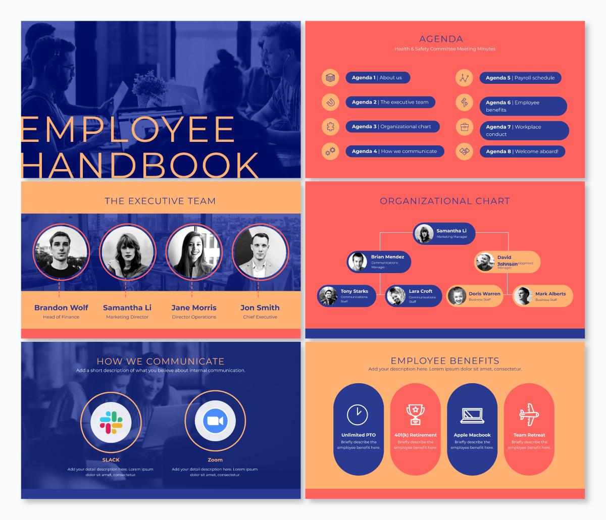 An employee handbook keynote template available in Visme.