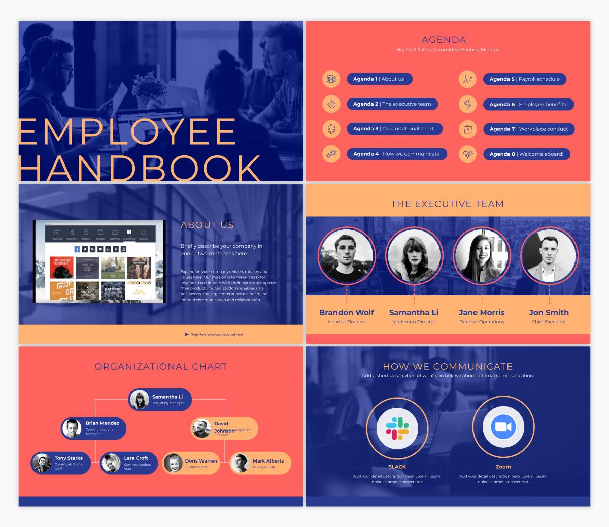 An employee handbook presentation template available in Visme.
