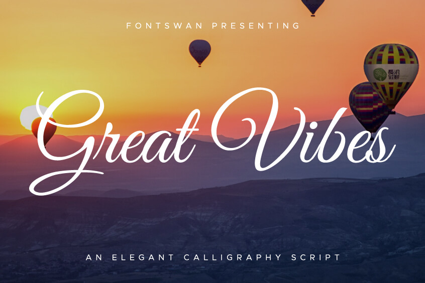 The font Great Vibes.