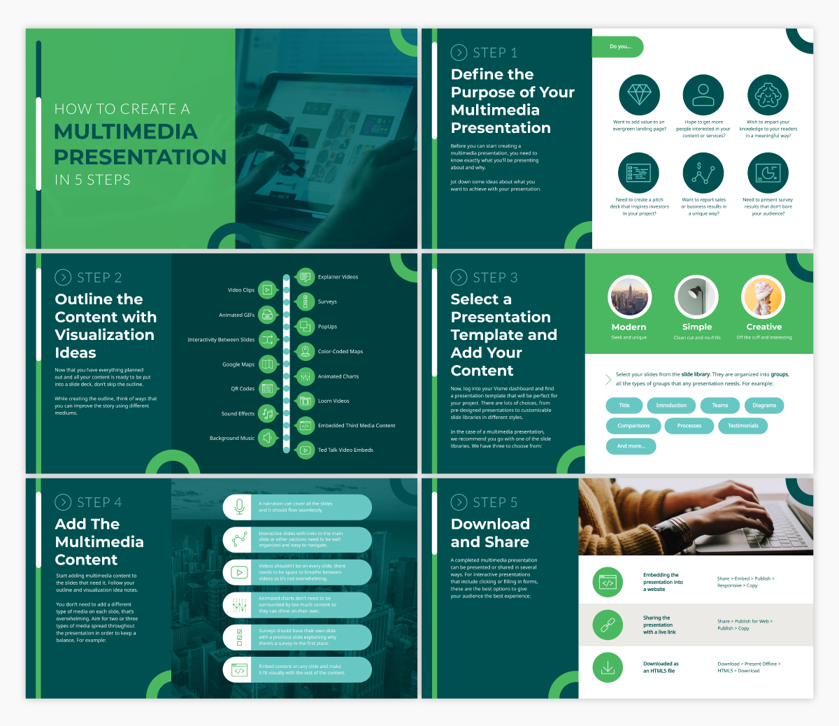 An informational presentation template available in Visme.