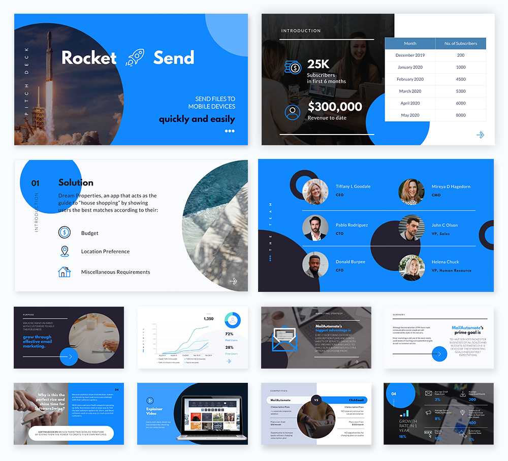 An investor pitch deck template available in Visme.