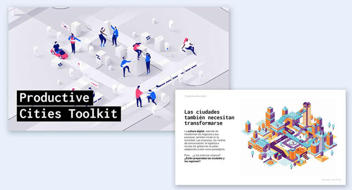 Isometric illustrations on a presentation slide.