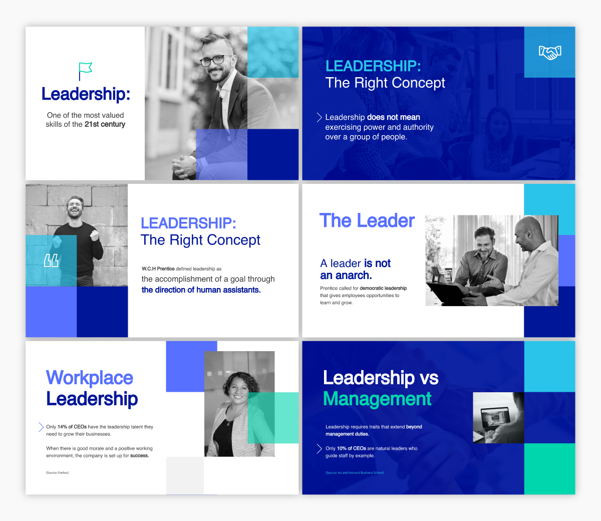 A leadership keynote presentation template available to customize in Visme.