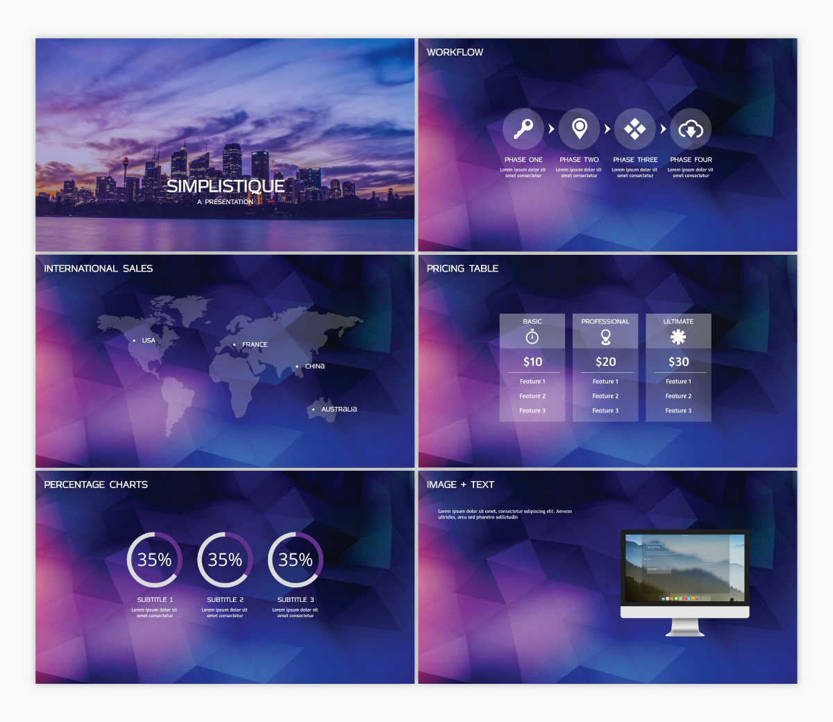 A blue and purple keynote template available to customize in Visme.
