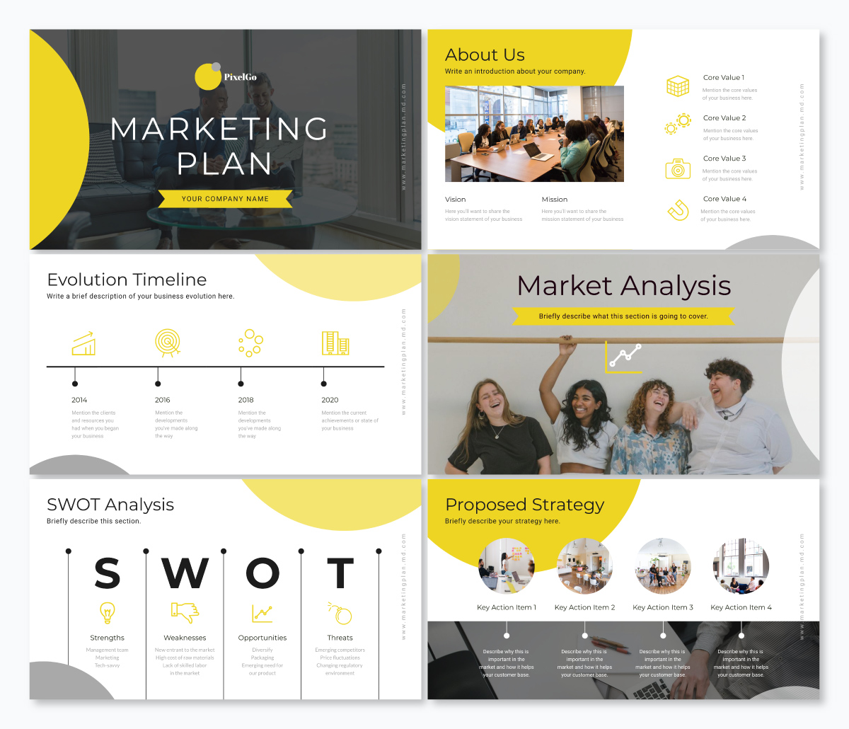 A marketing plan keynote template available in Visme.