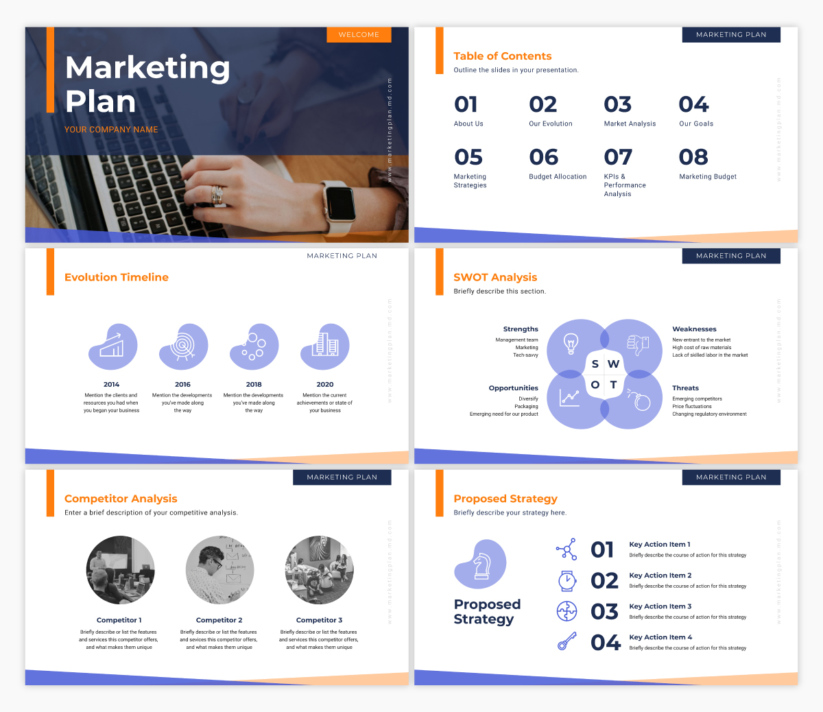 A marketing plan presentation template available in Visme.
