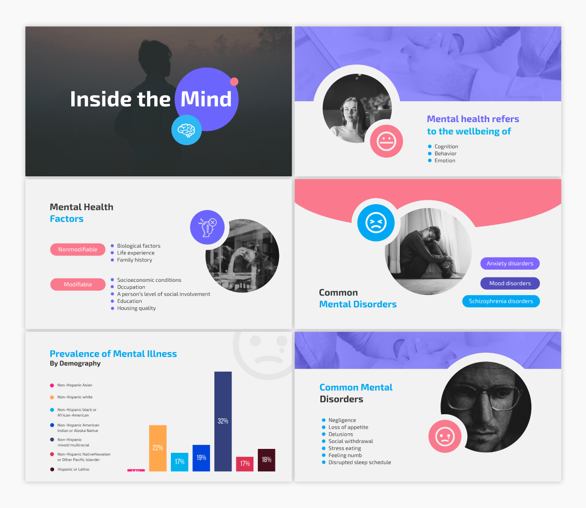 A mental health keynote template available to customize in Visme.