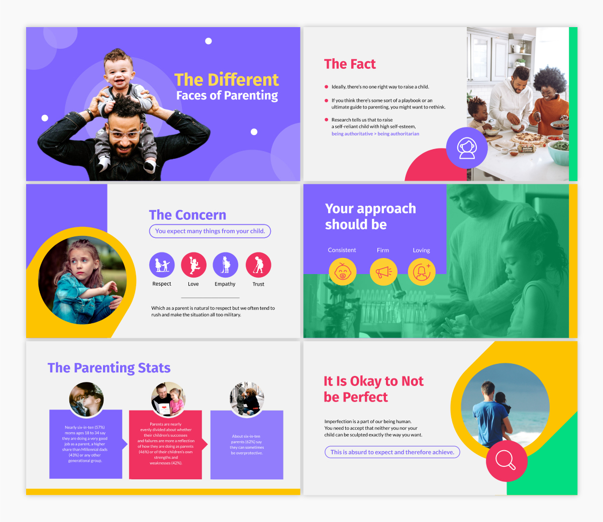 A parenting keynote template available to customize in Visme.