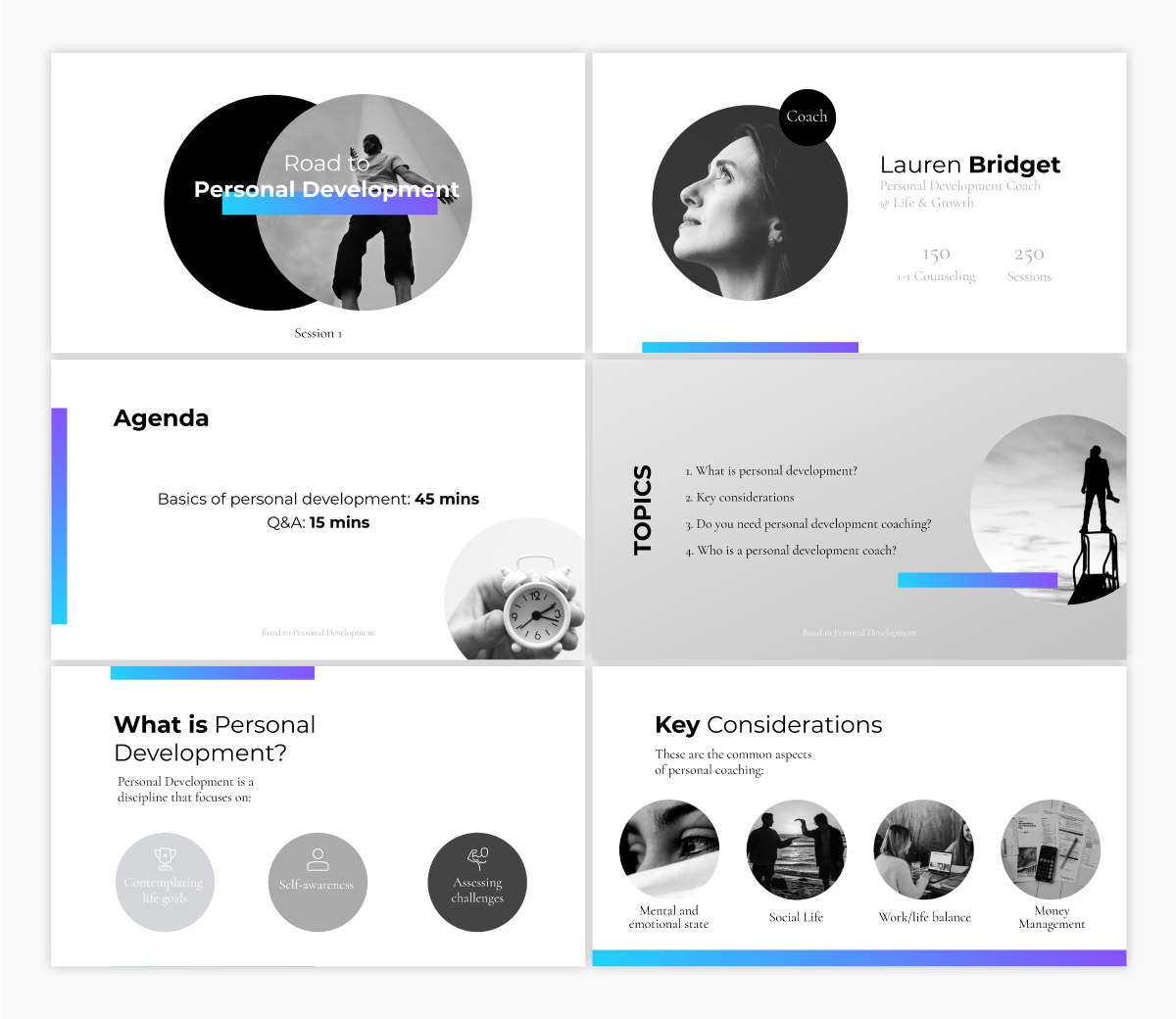 A personal development keynote presentation template available to customize in Visme.