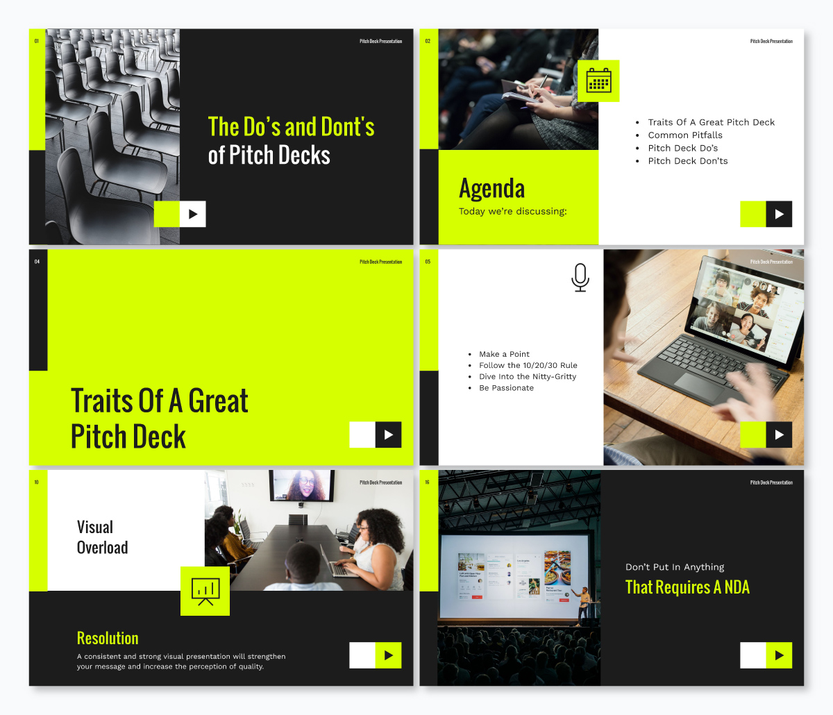 A neon and black keynote template available in Visme.