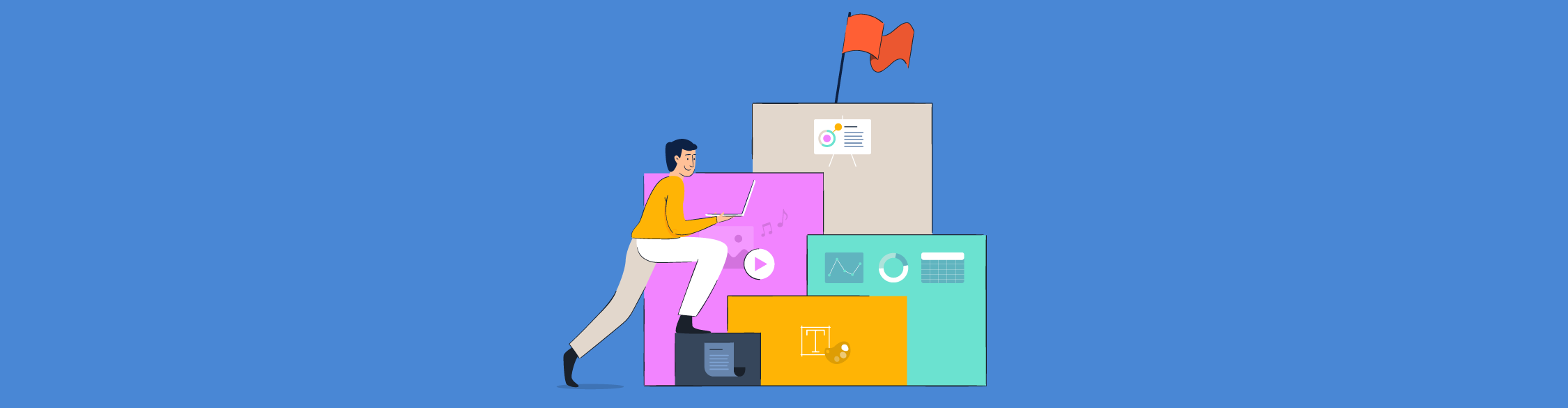 An illustration of a person stepping on blocks to create a presentation.