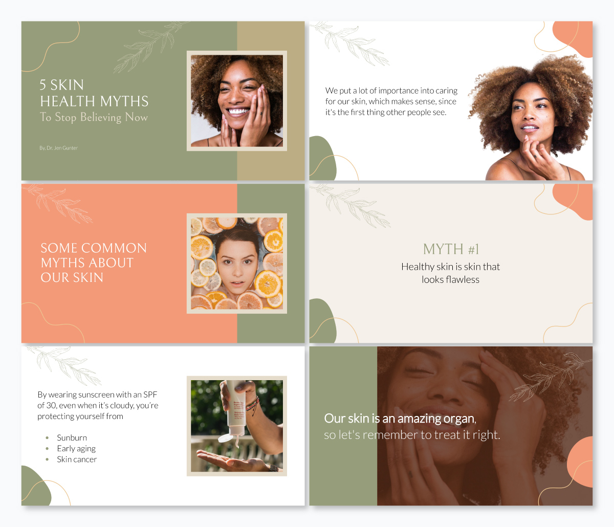 A skincare health keynote template available in Visme.
