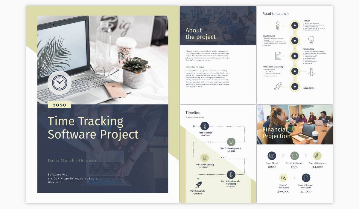A software project plan template available in Visme.