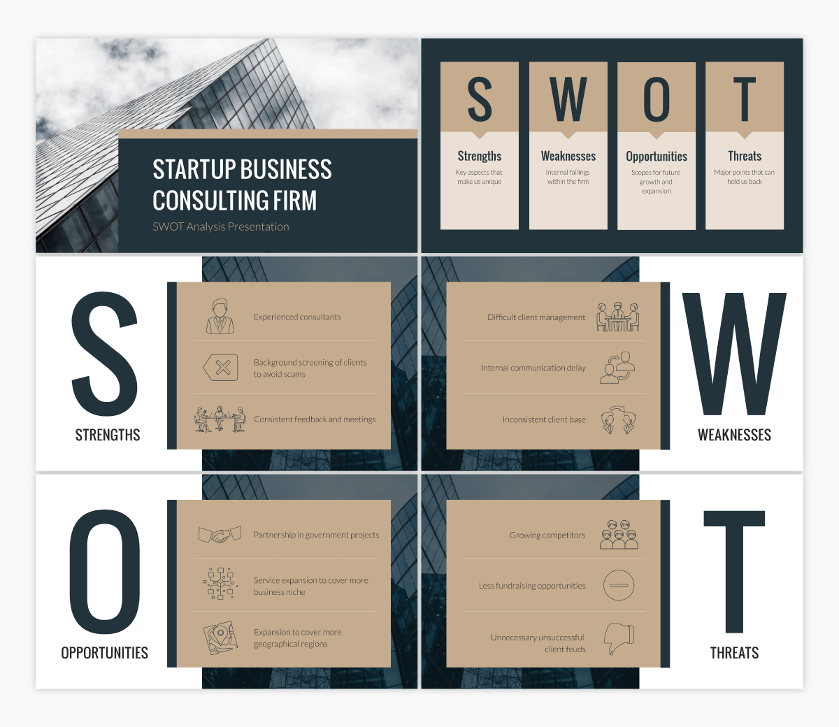 A SWOT analysis keynote template available in Visme.