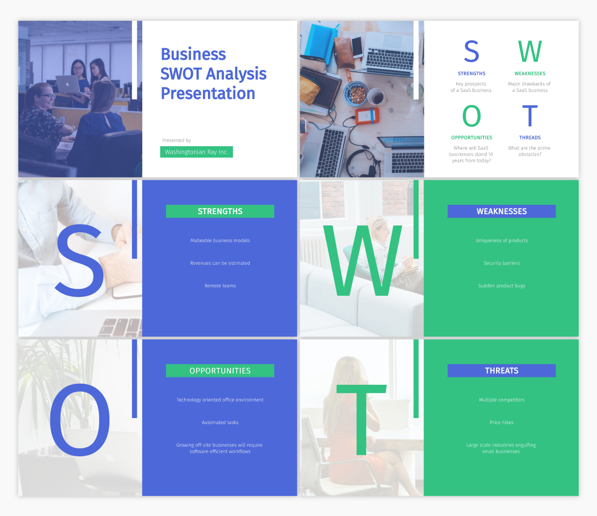 A SWOT analysis presentation template available in Visme.