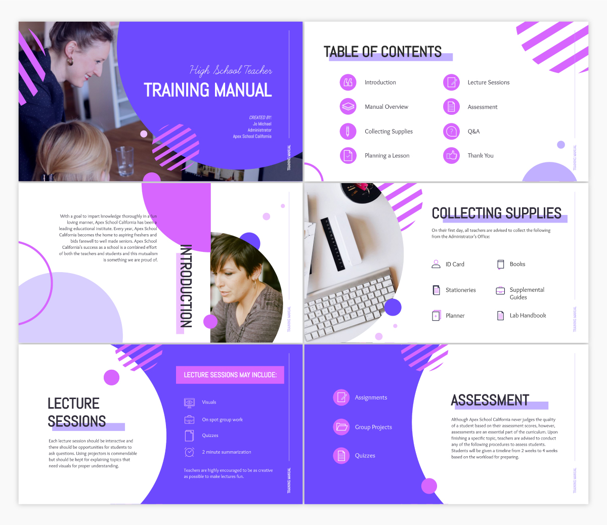 A training manual presentation template available in Visme.