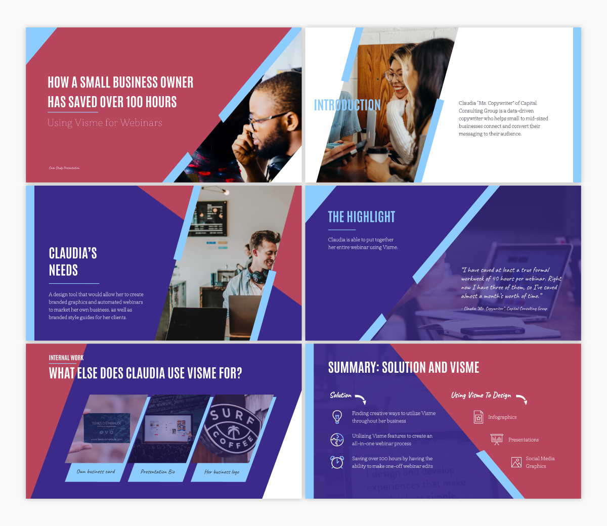 A case study keynote template available in Visme.