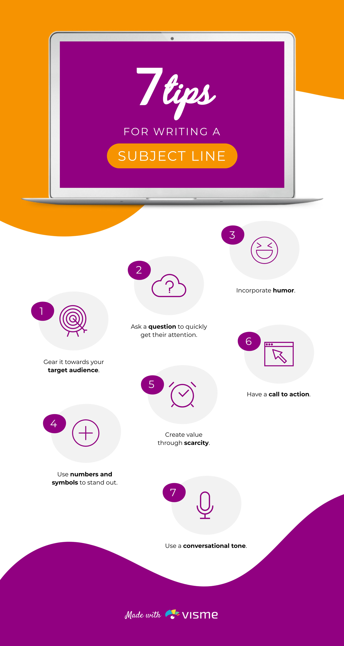 Infographic about writing an email subject line.