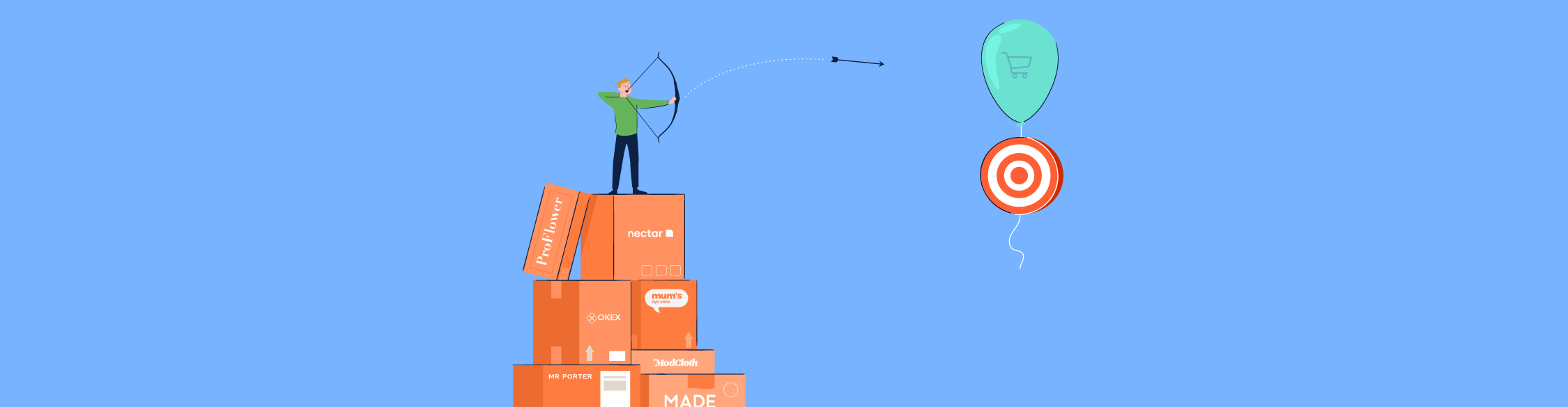 An illustration of a man on boxes representing ecommerce companies shooting an arrow to a target.